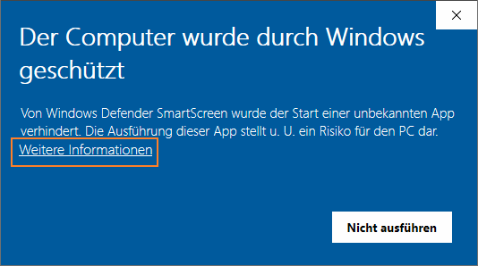 Windows Smartscreen Dialog