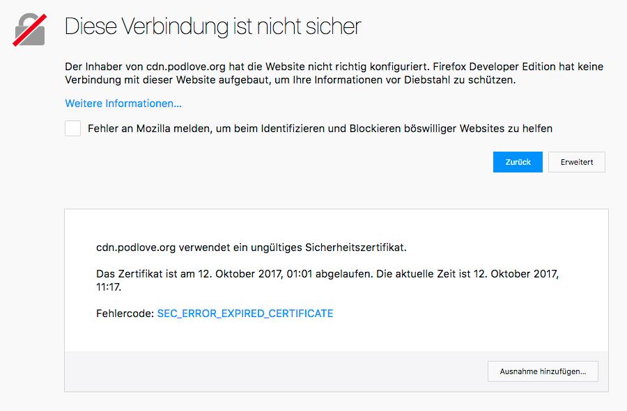 SSL-Zertifikat von cdn.podlove.org abgelaufen - Podlove - Sendegate